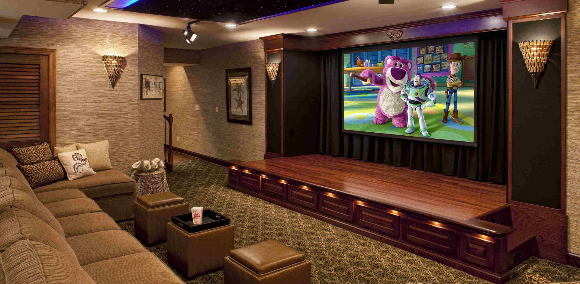 Home Front View Theater And Projector Screen Setup