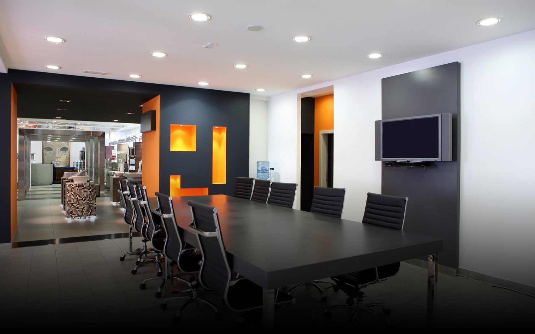 Modern Office With Wall Mounted Display